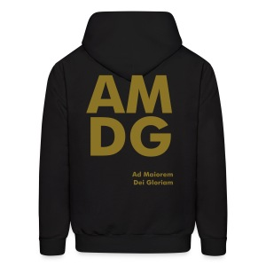 AMDG Black and Gold - Back - Men's Hoodie