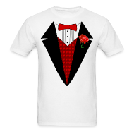 T-Shirts ~ Men's T-Shirt ~ Valentine's Day Tuxedo T-Shirt, Red Heart w/ Rose