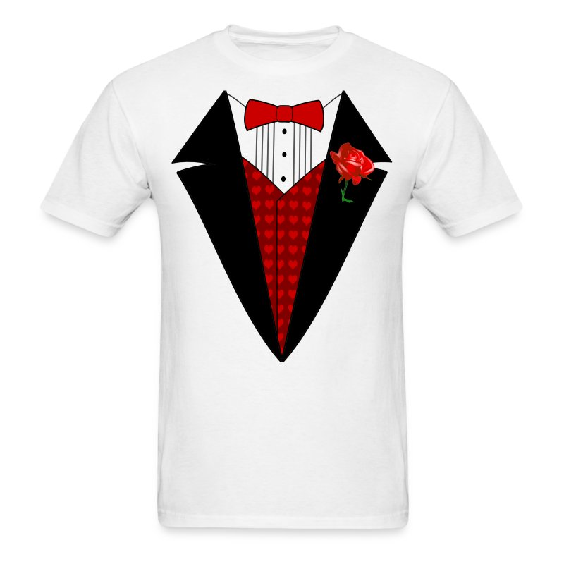 valentines day tuxedo t shirt red heart w rose