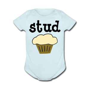 Stud Muffin Cute Baby One-Piece Funny T-Shirt - Short Sleeve Baby Bodysuit