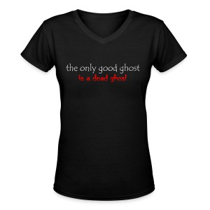 OnlyGood Ghost Women's V-neck T white print - Women's V-Neck T-Shirt