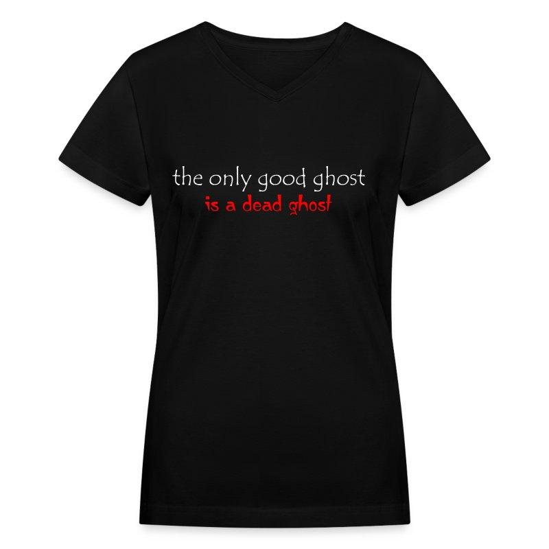 OnlyGood Ghost Women's V-neck T white print - Women's V-Neck T-Shirt