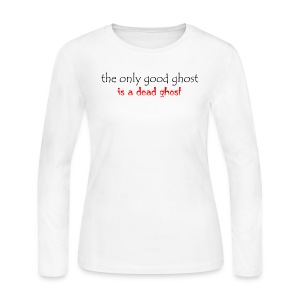 OnlyGood Ghost Women's long sleeve T black print - Women's Long Sleeve Jersey T-Shirt