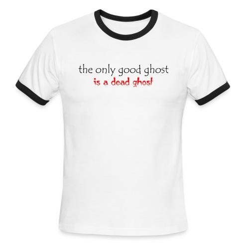 OnlyGood Ghost men's ringer T black print - Men's Ringer T-Shirt