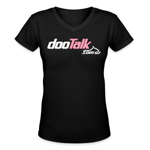 DOOTalk.com 'pink' Women's V-Neck Shirt - Women's V-Neck T-Shirt