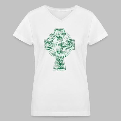 Irish Celtic Cross - Women's V-Neck T-Shirt