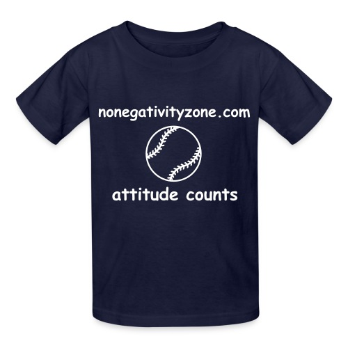 Children's No Negativity Zone Baseball Attitude Counts Tee - Navy Blue - Kids' T-Shirt