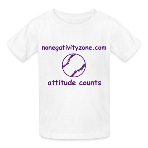 Children's No Negativity Zone Baseball Attitude Counts Tee - White/Purple - Kids' T-Shirt