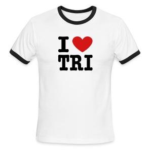 I Heart Tri Men's Lightweight Ringer Tee - Men's Ringer T-Shirt