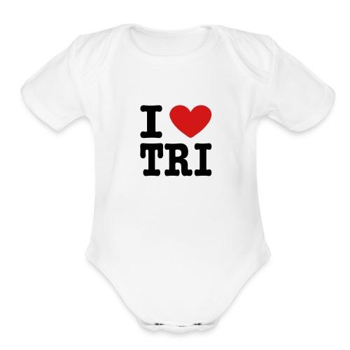 I Heart Tri Baby One Piece - Organic Short Sleeve Baby Bodysuit