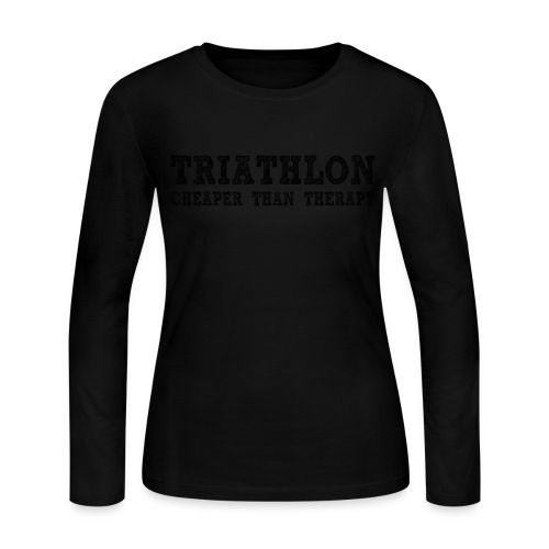 Triathlon - Cheaper Than Therapy Women's Long Sleeve Jersey Tee - Women's Long Sleeve Jersey T-Shirt