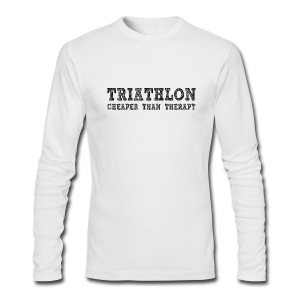 Triathlon - Cheaper Than Therapy Men's AA Long Sleeve Tee - Men's Long Sleeve T-Shirt by Next Level