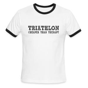 Triathlon - Cheaper Than Therapy Men's Lightweight Ringer Tee - Men's Ringer T-Shirt