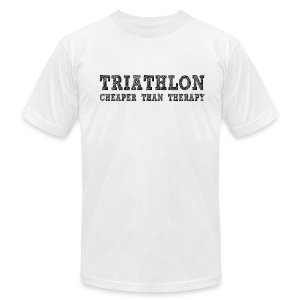 Triathlon - Cheaper Than Therapy Men's AA Tee - Men's T-Shirt by American Apparel