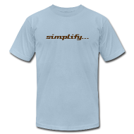 T-Shirts ~ Men's T-Shirt by American Apparel ~ Simplify / Add Lightness : American Apparel t-shirt- Light Blue w/ Chocolate