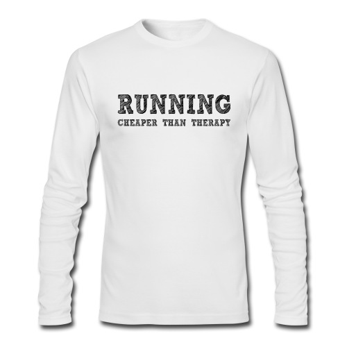 Running - Cheaper Than Therapy Men's AA Long Sleeve Tee - Men's Long Sleeve T-Shirt by Next Level