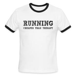 Running - Cheaper Than Therapy Men's Lightweight Ringer Tee - Men's Ringer T-Shirt