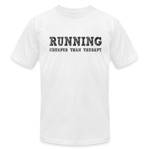 Running - Cheaper Than Therapy Men's AA Tee - Men's T-Shirt by American Apparel