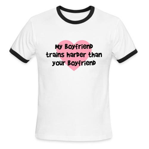 My Boyfriend Trains Harder Men's Lightweight Ringer Tee - Men's Ringer T-Shirt