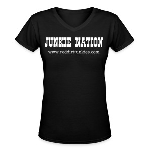 Girl's Junkie Nation T-shirt - Women's V-Neck T-Shirt