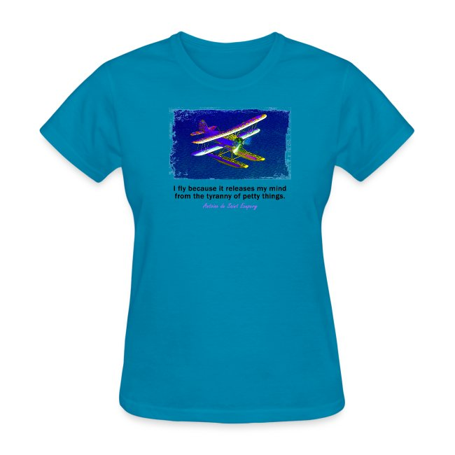 Women's Standard Weight T-Shirt - Seaplane - English Quote