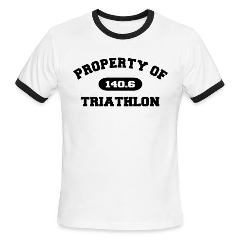 Property of Triathlon 140.6 - Men's Lightweight Ringer Tee - Men's Ringer T-Shirt