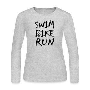 Swim Bike Run Dirty Design - Women's Long Sleeve Jersey T-Shirt