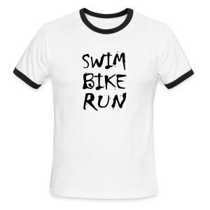 Swim Bike Run Dirty Design - Men's Ringer T-Shirt
