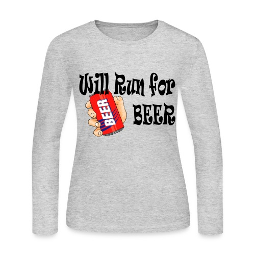 Will Run for Beer - Women's Long Sleeve Jersey T-Shirt