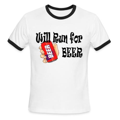 Will Run for Beer - Men's Ringer T-Shirt