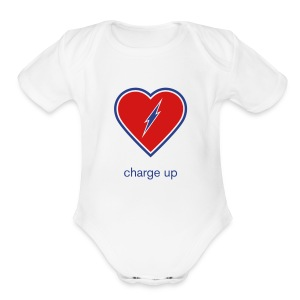 Charge Up Baby One Piece Blue - Short Sleeve Baby Bodysuit