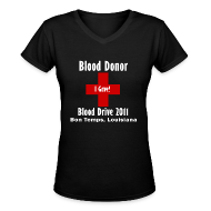 Women's T-Shirts ~ Women's V-Neck T-Shirt ~ Women's V-Neck Blood Donor 2011 - Black