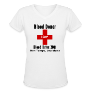 Women's T-Shirts ~ Women's V-Neck T-Shirt ~ Women's V-Neck Blood Donor 2011