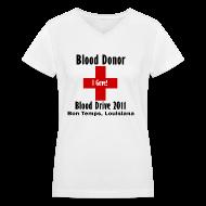 Women's T-Shirts ~ Women's V-Neck T-Shirt ~ Women's V-Neck Blood Donor 2011
