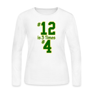 #12 is 3 times #4 - Women's Long Sleeve Jersey T-Shirt