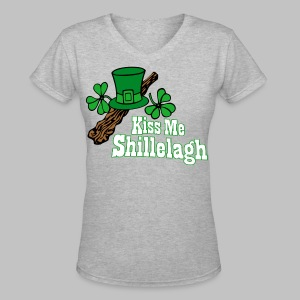 Kiss Me Shillelagh - Women's V-Neck T-Shirt