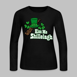 Kiss Me Shillelagh - Women's Long Sleeve Jersey T-Shirt