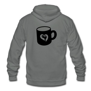 Hot chocolate cup i love  coffee! Zip Hoodies/Jackets - Unisex Fleece Zip Hoodie by American Apparel
