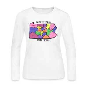 PA State Forest Map - Women's Long Sleeve Jersey T-Shirt