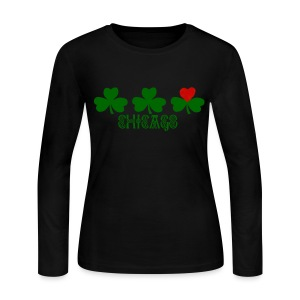 Chicago Shamrock Heart - Women's Long Sleeve Jersey T-Shirt