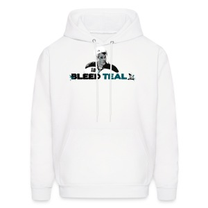 Bleed Teal Patty Men's White Hoodie - Men's Hoodie