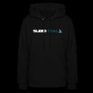 Hoodies ~ Women's Hoodie ~ Bleed Teal Women's Black Hoodie