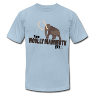 T-Shirts ~ Men's T-Shirt by American Apparel ~ Wooly Mammoth Guy Men's Sky Blue AA Tee
