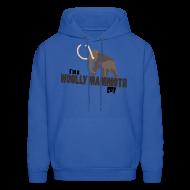 Hoodies ~ Men's Hoodie ~ Wooly Mammoth Guy Men's Navy Blue Hoodie