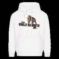 Hoodies ~ Men's Hoodie ~ Wooly Mammoth Guy Men's White Hoodie