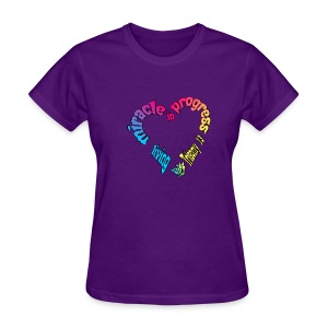 T13 miracle in progress heart with names on back - Women's T-Shirt