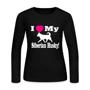 I love my Siberian Husky Long Sleeve  - Women's Long Sleeve Jersey T-Shirt