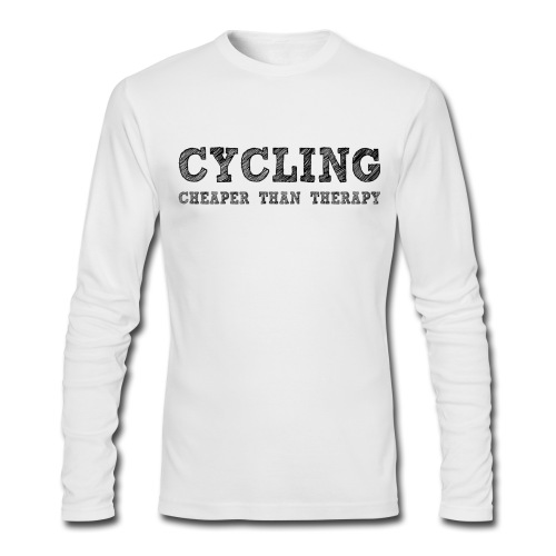 Cycling - Cheaper Than Therapy - Men's Long Sleeve T-Shirt by Next Level