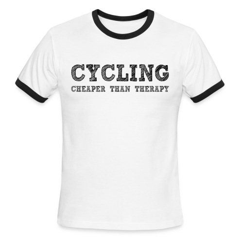 Cycling - Cheaper Than Therapy - Men's Ringer T-Shirt