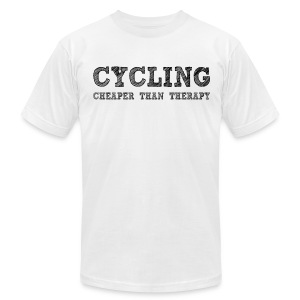 Cycling - Cheaper Than Therapy - Men's T-Shirt by American Apparel